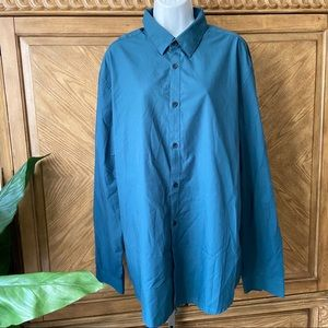 H&M Teal Green Easy Iron slim fit button shirt